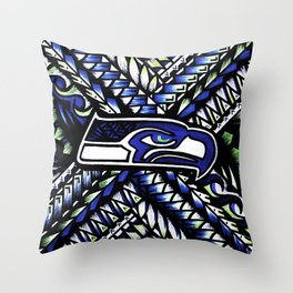 Seahawks new tribal look Throw Pillow