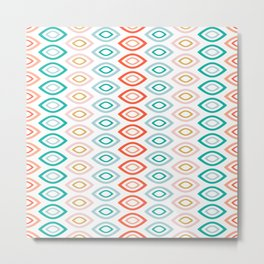 Mid Century Modern Geometric Shapes in Muted Colors Orange Coral, Pink, Blue, Teal, and Gold Metal Print