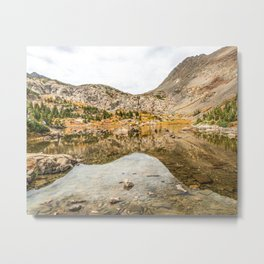 Crystal Clear Lake // Rustic Mountain Gray Sky and Autumn Colors Metal Print