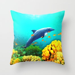 Dolphin in Water Throw Pillow