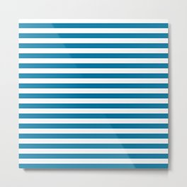 Mosaic Blue and White Stripes Metal Print