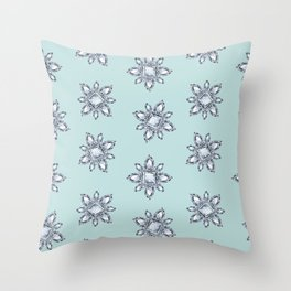 Jewelbox: Diamond Brooch Repeat in Eggshell Aqua Throw Pillow
