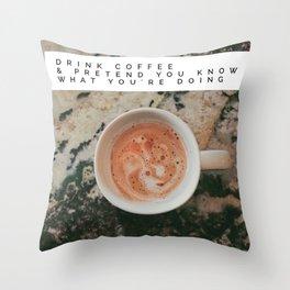 COFFEE SMILES BACK :) Throw Pillow