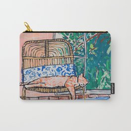Napping Ginger Cat in Pink Jungle Garden Room Carry-All Pouch