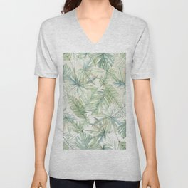 Green Tropical Leaves Unisex V-Neck