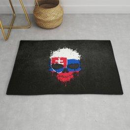 Flag of Slovakia on a Chaotic Splatter Skull Rug