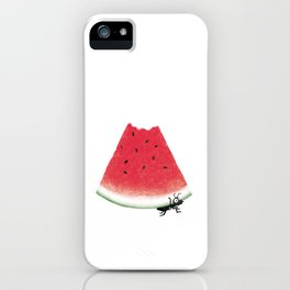 black ant carrying a watermelon iPhone Case