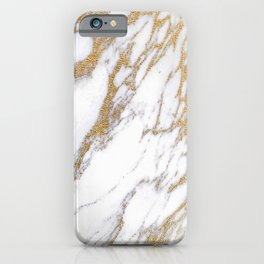 Elegant Creamy White Marble With Luscious Gold Veins iPhone Case