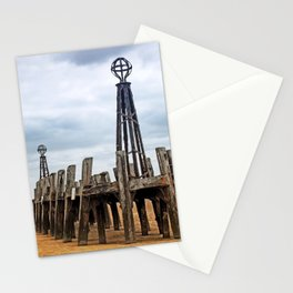 abandoned landing stage at saint annes pier in the ribble estuary lancashire Stationery Cards
