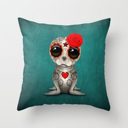 Red Day of the Dead Sugar Skull Seal Baby Throw Pillow