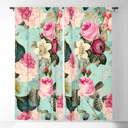 Vintage & Shabby Chic - Summer Teal Roses Flower Garden Blackout Curtain