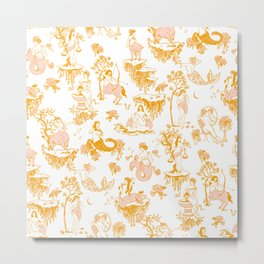 Astrology-Inspired Zodiac Gold Toile Pattern Metal Print