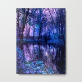 Enchanted Forest Lake Purple Blue Metal Print