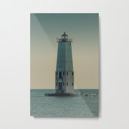 Frankfort North Light Vertical Lake Michigan Lighthouse Historic Navigational Aide Sailor Sailing Pier Breakwater Beach House Metal Print