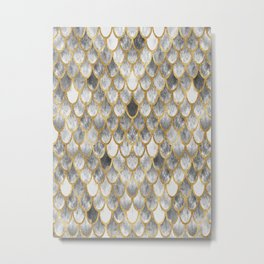 Marble Mermaid Scales Metal Print