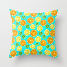Citrus pattern with blue green background Throw Pillow