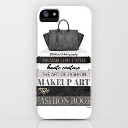 Fashion books, fashion illustration, grey, Black and white, Bag, Hand bag, Style, Art of fashion iPhone Case