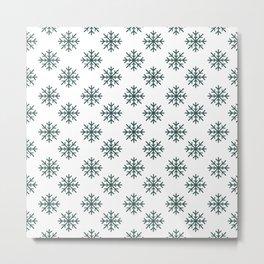 Snowflakes (Dark Green & White Pattern) Metal Print