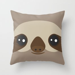 funny and cute smiling Three-toed sloth on brown background Throw Pillow