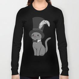 Grey Cat Wears Plumed Top Hat Long Sleeve T-shirt