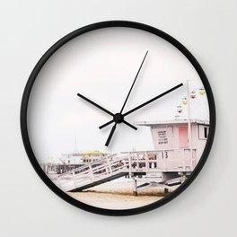 Pink Lifeguard Hut Wall Clock