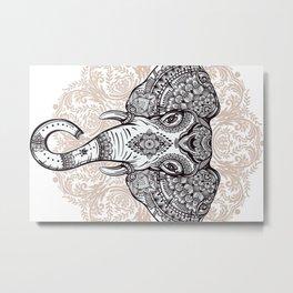 Elephant on Mandala Metal Print