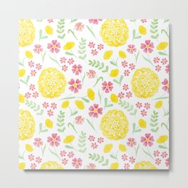 Watercolor floral pattern with doily Metal Print