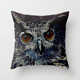 owl strix bird v2 vector art foggy night Throw Pillow