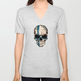 Dark Skull with Flag of Finland Unisex V-Neck