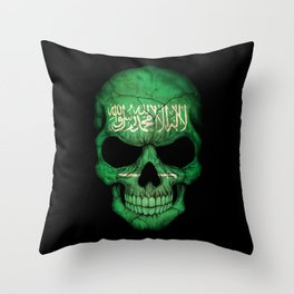 Dark Skull with Flag of Saudi Arabia Throw Pillow