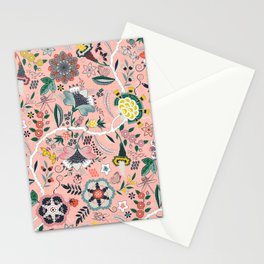 BOHO Chintz (Coral Pink) Stationery Cards