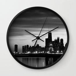 Chicago Night Waterfront  Wall Clock
