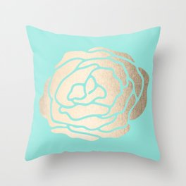 Rose in White Gold Sands on Tropical Sea Blue Throw Pillow