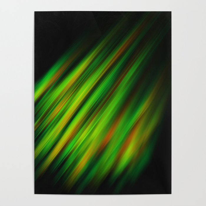 Colorful neon green brush strokes on dark gray Poster
