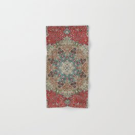 Antique Red Blue Black Persian Carpet Print Hand & Bath Towel