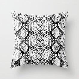 snake black and white Throw Pillow