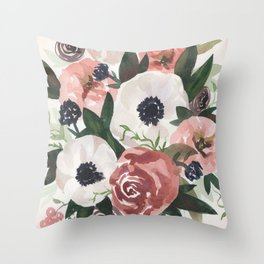 Anemone Berry Watercolor Bouquet Throw Pillow