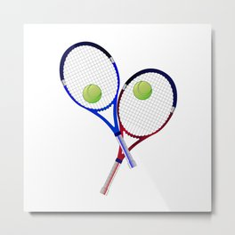 Tennis Racket And Ball Doubles Metal Print