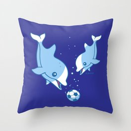 Soccer Dolphins Throw Pillow
