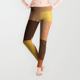 Fall Mustard Orange Golden Brown Checkered Gingham Patchwork Color Leggings