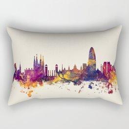 Barcelona Spain Skyline Rectangular Pillow