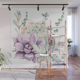 Succulents Sage + Purple Watercolor by Nature Magick Wall Mural