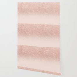 Rose gold faux glitter pink ombre color block Wallpaper