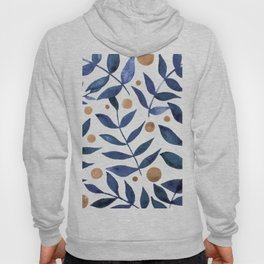 Watercolor berries and branches - indigo and beige Hoodie