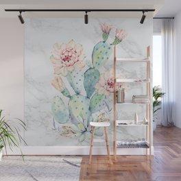 Watercolor Cactus Marble Wall Mural