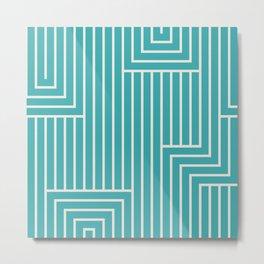 Alabaster White Solid Color Art Deco Pattern 2 on Aqua Teal Turquoise Parable to Aquarium SW 6767 Metal Print