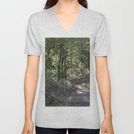 across a wooden bridge Unisex V-Neck