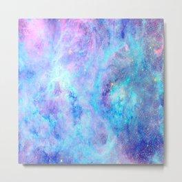 Bright Tarantula Nebula Aqua Lavender Periwinkle Metal Print
