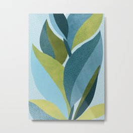 In The Shadows / Abstract Maximal Flora in French Blue and Olive Metal Print
