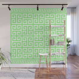 Greek Key (Light Green & White Pattern) Wall Mural